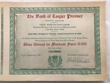 The Bank of Tangier Morocco 200 Share Warrants for 10,000 Morrocan Francs Book