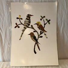 Vintage African Folk Art Handmade Butterfly Wing Art 3 Birds on Branch