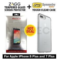Zagg Glass+ Screen Protector + Otterbox Case Cover for iPhone 8 Plus and 7 Plus