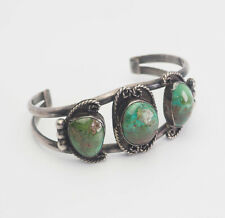 and sterling silver cuff bracelet Vintage Native American green turquoise