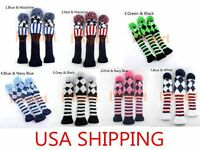 US Ship Knit Golf Driver Fairway Wood Head Covers for Taylormade Callaway 3Pcs