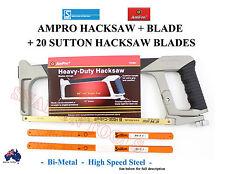 AMPRO HACKSAW FRAME GERMANY BLADE +20 SUTTON HACKSAW BLADES BI-METAL HSS SPECIAL