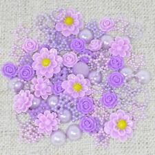 80 Mix Lilac Shabby Chic Resin Flatbacks Craft Cardmaking Embellishments