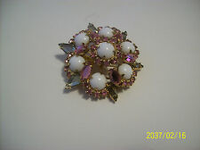 Milk Glass Vintage Brooch With Pink & Smoked Glass Rhinestones Riveted Back