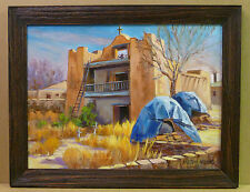 Krystyna Robbins Mission Church 24x18 NM Landscape Original Oil Painting Frame