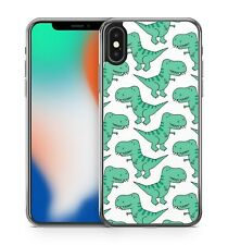 Green Coloured Joyful Cuddly Happy Smiley Dinosaurs Pattern Phone Case Cover