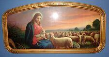 VINTAGE OLD RELIGIOUS ORNATE FRAMED JESUS GOOD SHEPHERD SHEEP SUGAR CREEK CHURCH