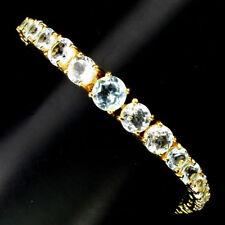 925 Sterling Silber Armband, Gelbgold beschichtet, Natural 3 bis 7 mm. Blautopas