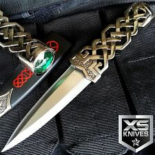 "9"" GREEN MEDIEVAL Scottish Highland Celtic Sgian Dubh Knife Wicca Dirk Dagger"