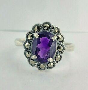Beautiful Vintage Sterling Silver Amethyst & Marcasite Cluster Ring UK N