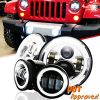 2007-2017 For Jeep Wrangler JK Halo LED Headlights Chrome + DRL Fog Lights Combo