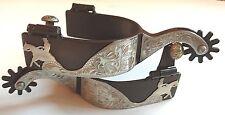 Western Spurs - Brown Iron - Silver - Reining Horse  Motif Spurs  (Mens)