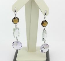 White Gold Smokey Topaz Green Amethyst Rose de France Dangle Earrings 12 carats
