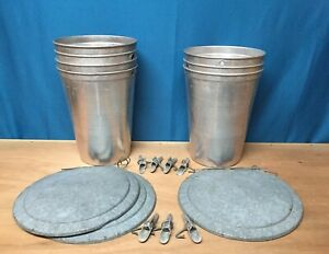 6 MAPLE SYRUP Aluminum Sap Buckets +6 OLD STYLE Lids COVERS +6 TAPS Spiles Spout