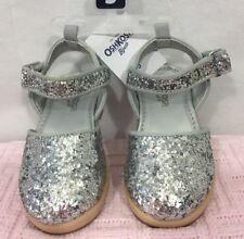 NWT Oshkosh Size 5 Girl's Toddler Silver Sparkle Ankle Strap Clogs