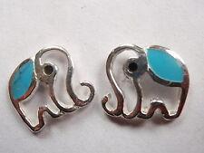 Small Turquoise Elephant Stud Earrings 925 Sterling Silver Corona Sun Jewelry