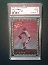 1993 Whataburger Nolan Ryan 4th NO Hitter   Baseball Sport Card PSA Mint 9