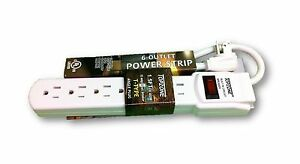 A/C Wall 6-Outlet Splitter Power Strip Surge Protector UL Listed assorted color