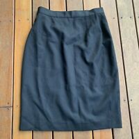 Marella Size 12 Black Pencil Skirt Pure New Wool Made in Italy Business Cocktail