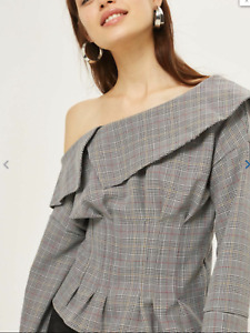 BNWT Topshop Grey Check Structured Off Shoulder Dressy Top Petite 4 6 8 16