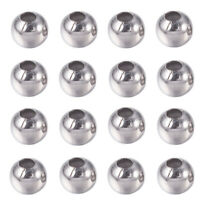 200pcs 304 Stainless Steel Metal Beads Round Smooth Loose Spacers Beading 4~6mm
