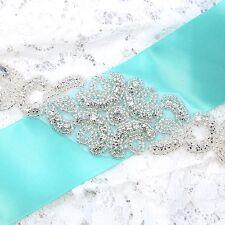 Diamante Crystal Bridal Sash Sew Iron On Applique Wedding Supply Dress Belt