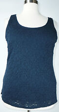 CUTE LANE BRYANT WOMEN'S PLUS SIZE NAVY BLUE SLEEVELESS LACE LINED TOP Sz 18/20