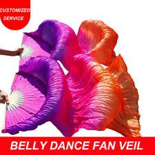 Hand Made Chinese Silk Belly Dance Fan Veil Pairs Women Dance Accessories