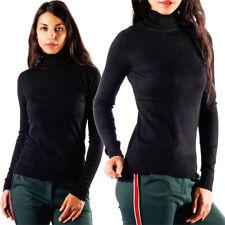 Rollkragen Pullover unifarben Schwarz Einheitsgröße: 36 - 38