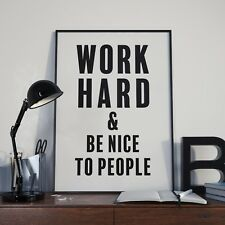 """""""Work Hard and Be Nice to People"""" Poster   Print A1 MidCentury Modern"""