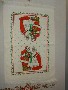 Vintage FRANCO Santa and Mrs Claus Kitchen Hand Towel Christmas