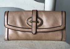 FOSSIL Vintage Reissue VRI Tan Leather Trifold Flap Clutch Wallet Organizer VGUC