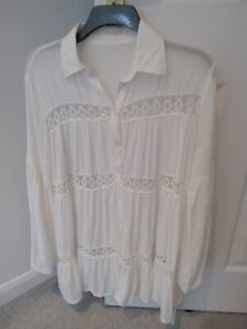 Cupshe Cream Cover Up  dress with lace detail One Size Bnwt