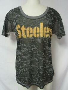 Pittsburgh Steelers Womens Large Touch by Alyssa Milano Sheer T-Shirt A1 1928