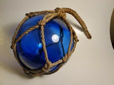 Vintage Mid Century Cobalt Blue Lg. Japanese Glass Fishing Float