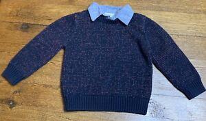 Osh Kosh Genuine Kids Boy Size 4T Sweater With Partial Dress Shirt Underneath