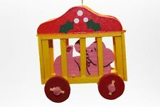 Vintage Circus Elephant Ornament Wooden Wood Taiwan Cage 3D on Wheels Rare