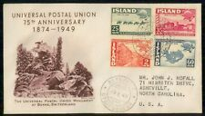 Mayfairstamps Iceland 1949 Upu Anniversary to Asheville Nc First Day Cover wwi98