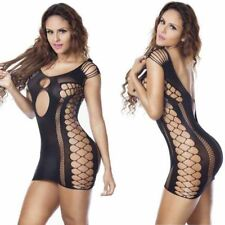 Black Sexy Womens Fishnet  Lingerie Stripper Mini Dress Nightwear Bodystocking