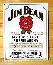 Jim Beam White Bottle Label Whiskey TIN SIGN vtg home bar metal wall decor 1061