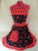 RETRO VINTAGE 50s STYLE FULL APRON / PINNY - BLACK with RED CHERRIES & RED TRIM