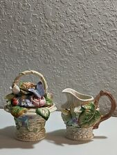 Fitz And Floyd Old World Rabbits Creamer And Sugar Spoon Ladle Butterfly Flowers