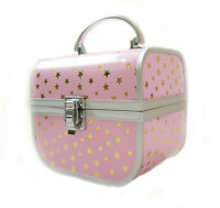 Small Childrens Cosmetic Beauty Jewellery Case Box Pink Gold Stars 159x114x135mm