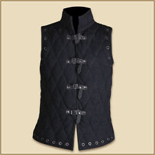 Thick black color Gambeson Medieval Padded collar sleevesless armorBID~~