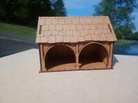 Christmas Village or 28mm War-game Tudor Style Small Barn 2mm MDF Laser Cut Kit