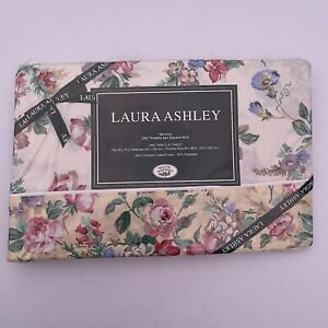VTG Laura Ashley Juliet Floral Twin Flat Sheet 200 Threads Combed Cotton/Poly