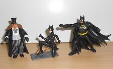 "BATMAN RETURNS Keaton Devito Pfeiffer PVC FIGURINE Figure 4"" Hard Rubber 1992"