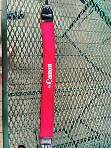"""Canon 1.5"""" Wide Red Edge Stitched white /Red Camera  Neck Camera Strap"""