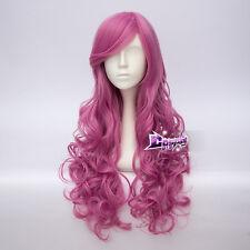 65cm Dark Pink Long Curly Hair Lolita Women Anime Party Cosplay Wig + Cap
