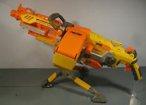 NERF VULCAN EBF-25 SOFT DART GUN w AMMO BELT & CAN & TRIPOD TESTED WORKS LOT T6